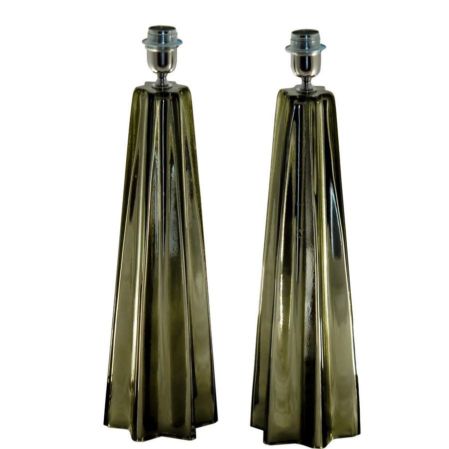 Alberto Dona Pair Of Cone Star Shaped Table Lamps Acciaio Mirrored