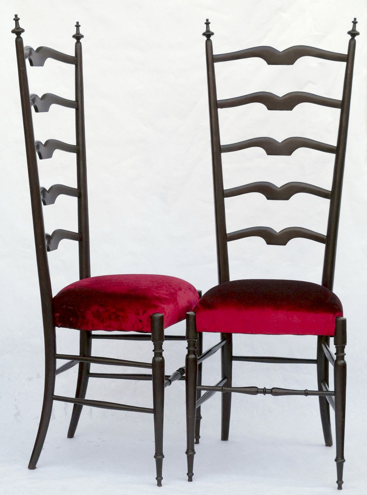 Paolo Buffa Pair of Chiavari Hall Side Chairs Restored French