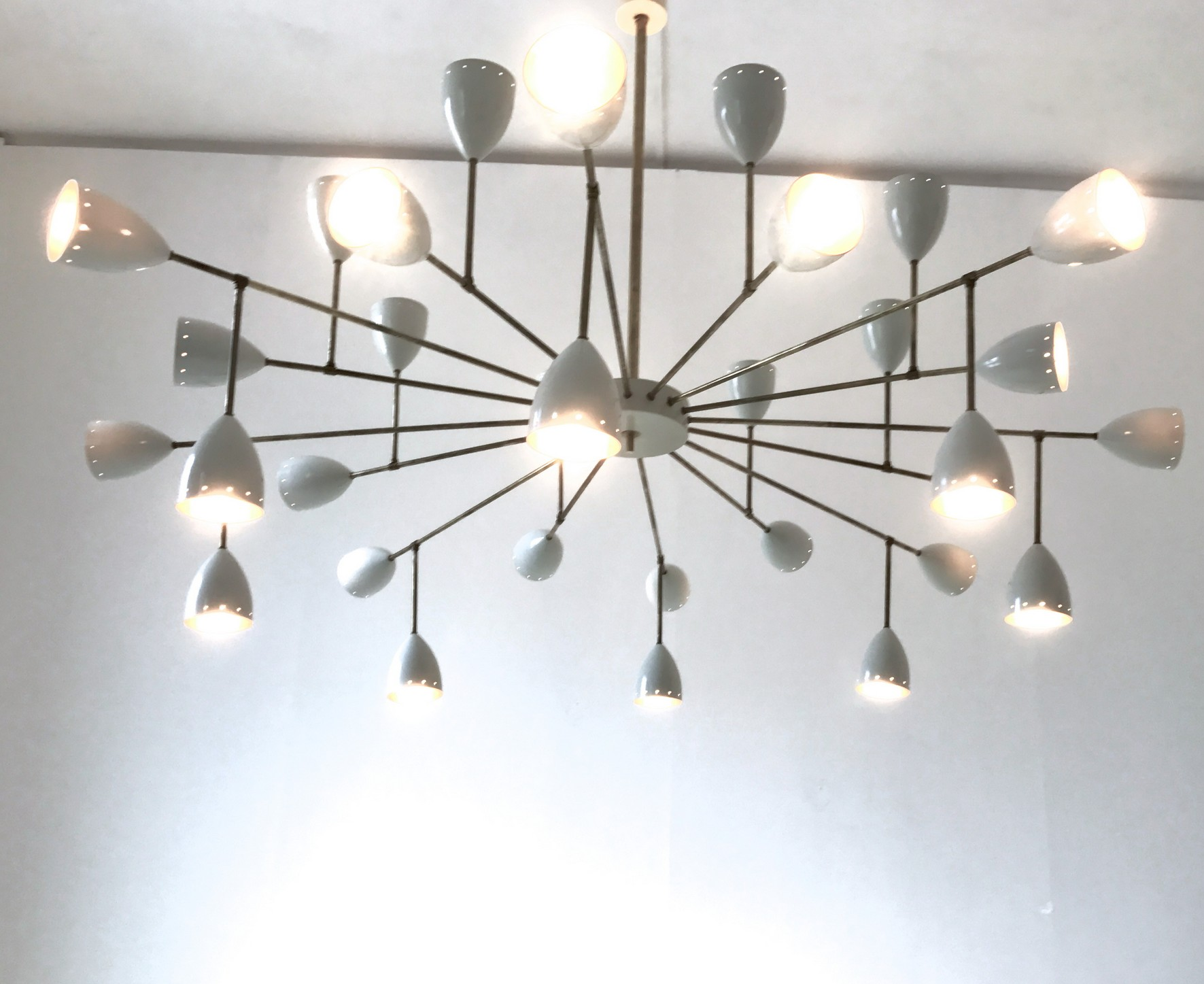 Branching Chandelier, Ivory or Black Shades, Gold Inside in the ...