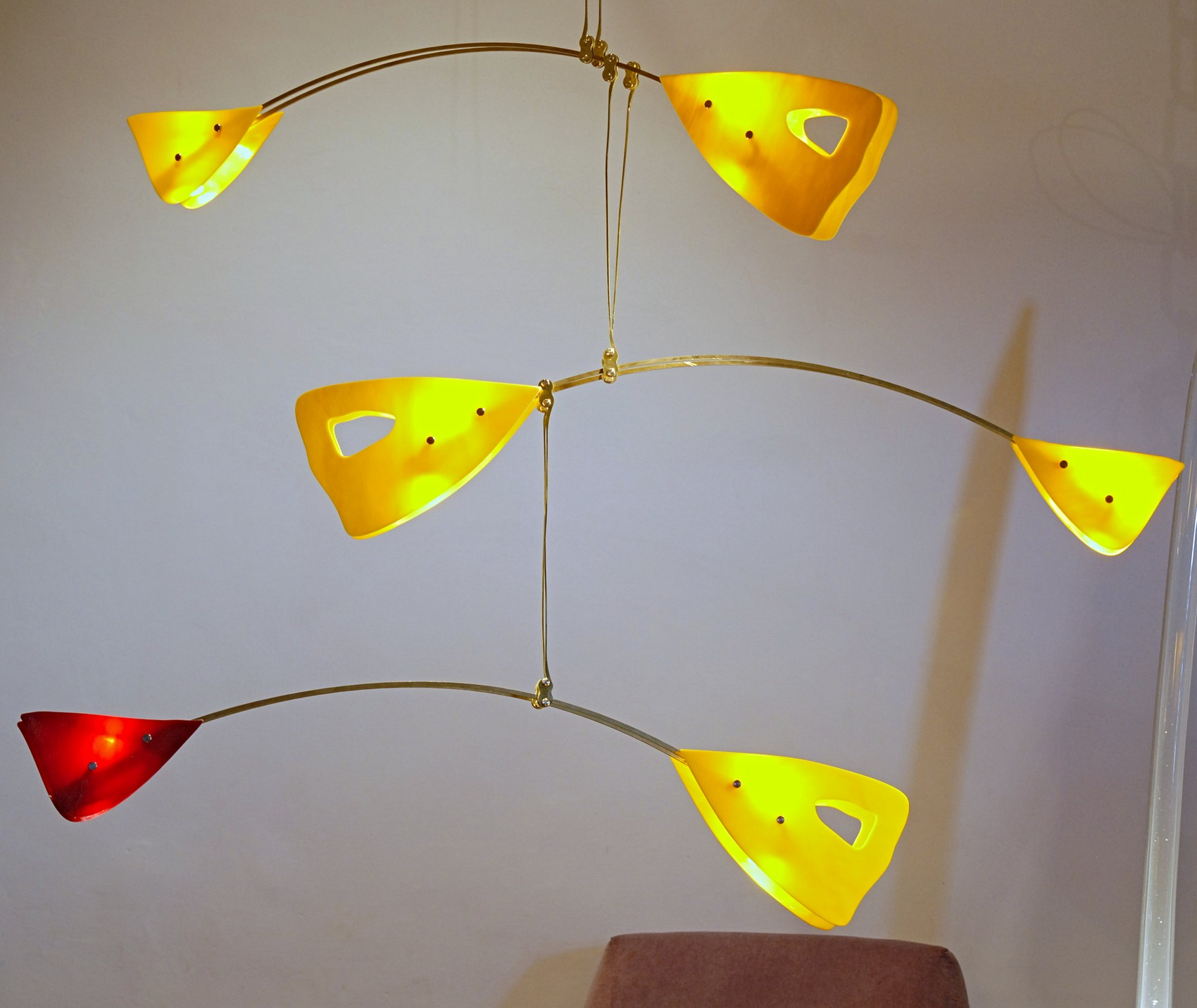After calder murano glass brass mobile chandelier red and yellow after calder murano glass brass mobile chandelier red and yellow glass elements aloadofball Image collections